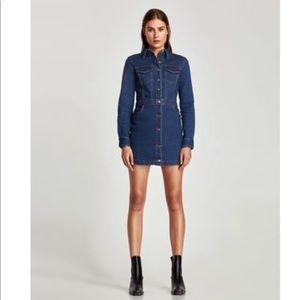 Zara Denim Fitted Button Up Long Sleeve Dress S